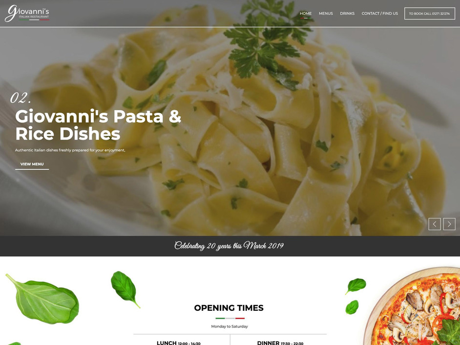 The Giovanni's website created by it'seeze North Devon